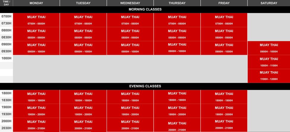 Phase 2 Onyx Yishun Class Schedule