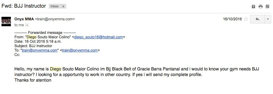 Professor Diego's first email to us.