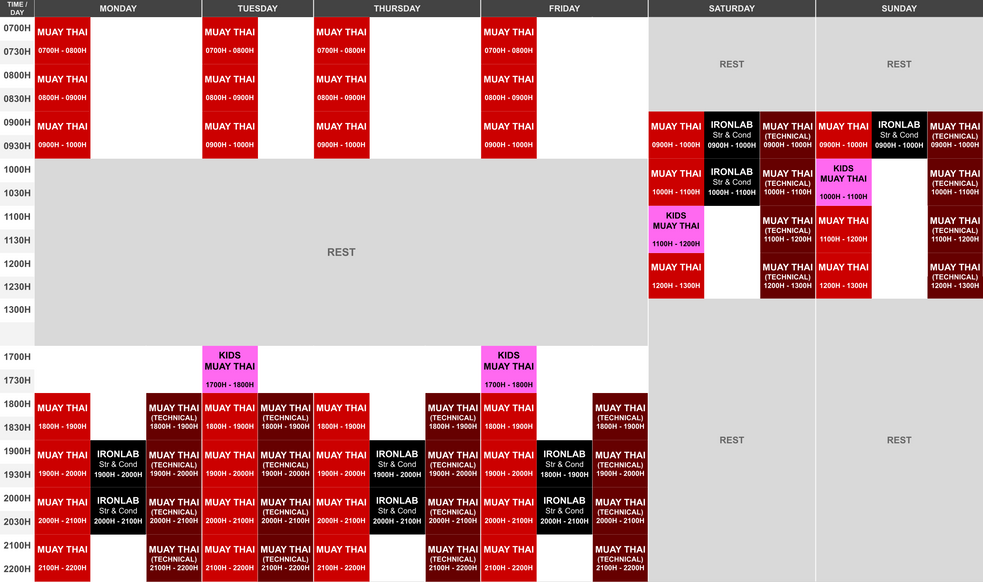 Phase 2 Onyx East Class Schedule