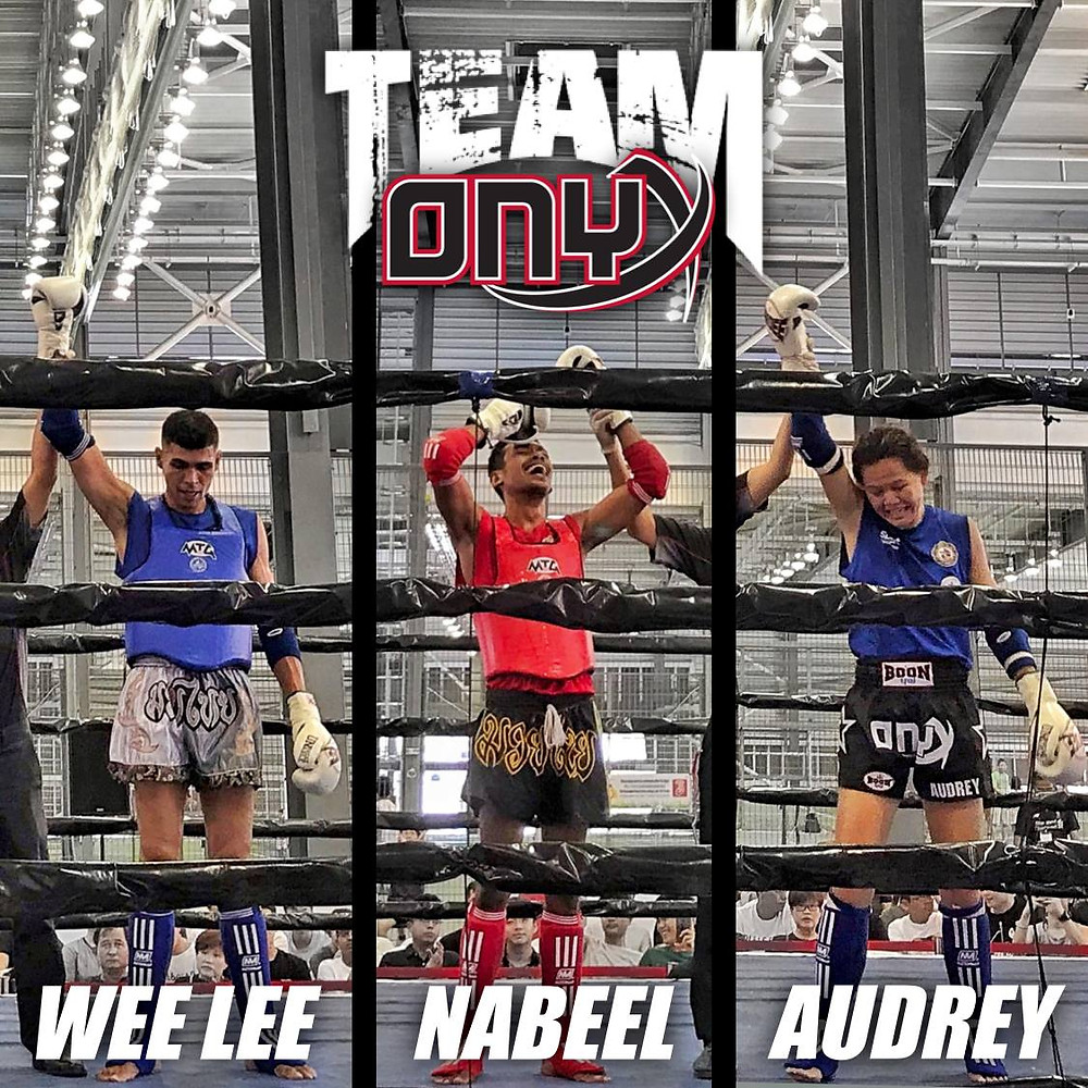 The Onyx Mother Audrey, and her two little chickens bagging all 3 victories at the Singapore Muay Thai National Qualifiers April 2019