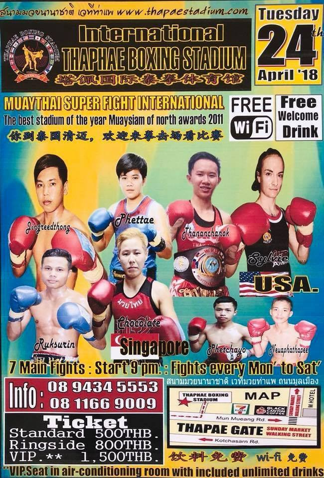 Fight Card of 24 April 2018, Thaphae Boxing Stadium.