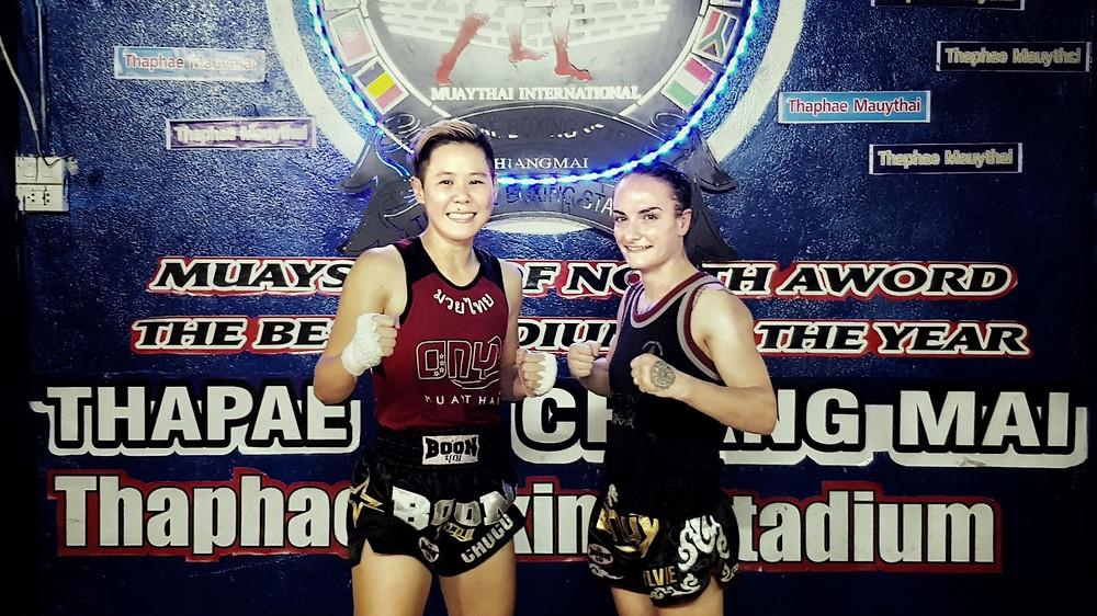 Chocolate Onyx & Sylvie on the same card, Thaphae Boxing Stadium, Chiang Mai, Thailand.