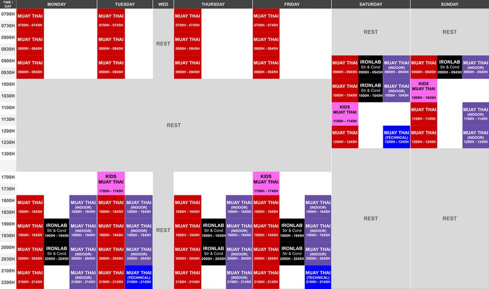 Onyx East Class Schedule