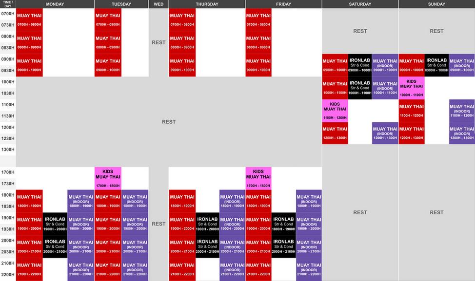 Phase 3 (HA) Onyx East Class Schedule