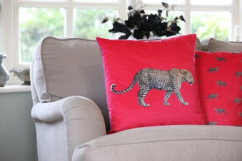 Prowling Leopard Velvet Cushion