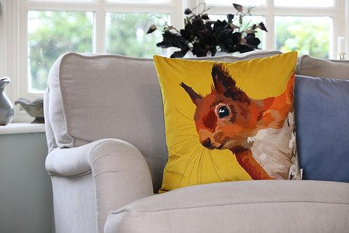 Red Squirrel Velvet Cushion