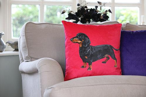 Sausage Dog Velvet Cushion