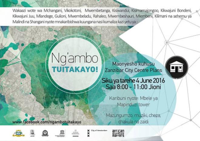 Saturday 4 June: Ng'ambo Tuitakayopresentation at Mapinduzi Park (Michenzani) in Zanzibar