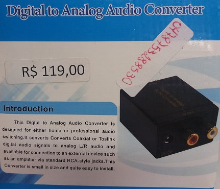 Conversor Audio Digital P/ Analogico Rca