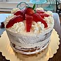 Vanilla Cake, Whipped Cream, Strawberries