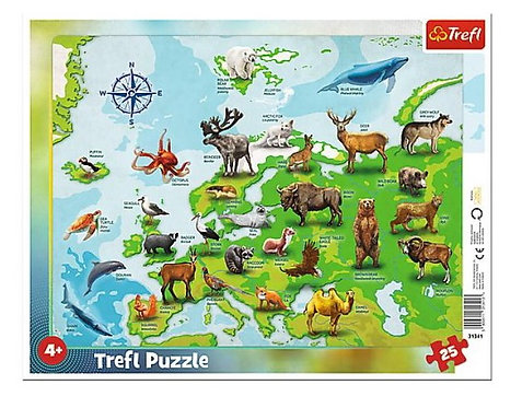 "Puzzles - ""25 Frame"" - Europe map with animals"