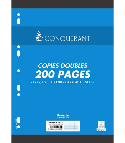 Conquerant  - Copies doubles perforées blanches A4 (200pages) Seyes - 70g