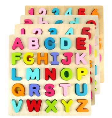 Little Kids Wooden Puzzle ABC or 123
