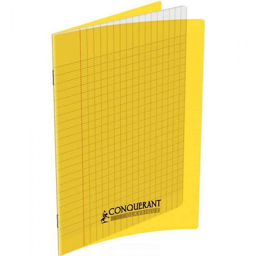 Cahier Conquerant 17x22 Polypro Jaune 90g 96pages Grands Carreaux (Seyes)