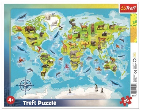 "Puzzles - ""25 Frame"" - World map with animals"