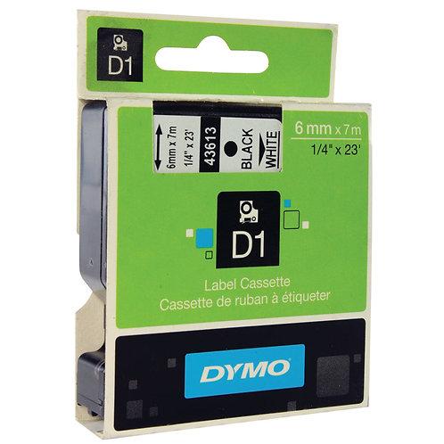 Dymo D1 Label Cassette Tape 6mm x 7m Black on White