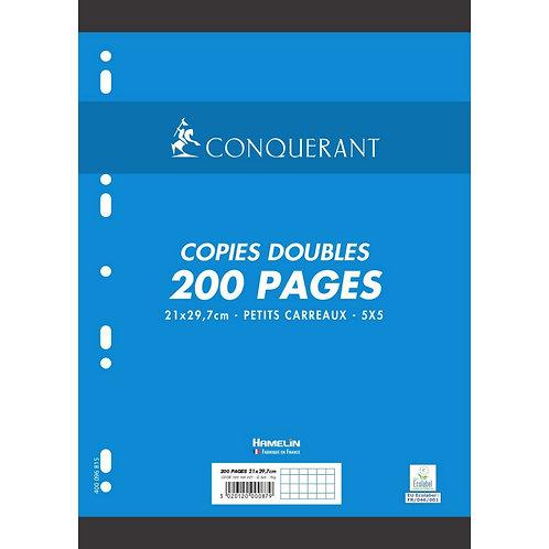 Conquerant  - Copies doubles perforées blanches A4 (200 pages) 5x5 - 70g