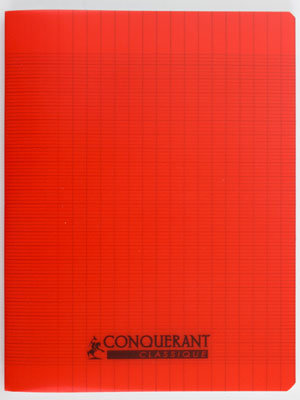 Cahier Conquerant 17x22 Polypro Rouge 90g 96pages Grands Carreaux (Seyes)