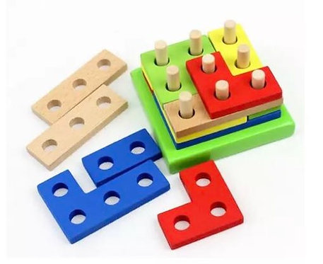 Wooden Intelligence Geometry Assembly blocks