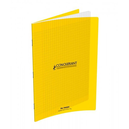 Cahier Conquerant 24x32 Polypro Jaune 90g 96pages Grands Carreaux (Seyes)