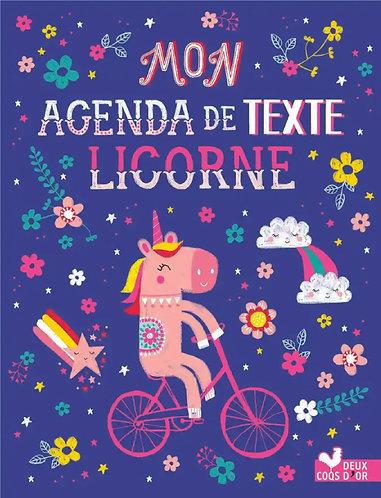 Mon Agenda de texte Licornes