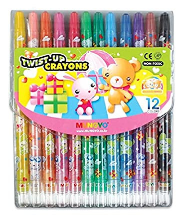 Mungyo Twist up Wax Crayons 12 Colours in Wallet Pack