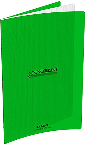 Cahier Conquerant 24x32 Polypro Vert 90g 96pages Grands Carreaux (Seyes)