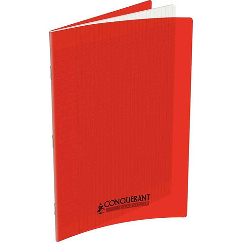 Cahier Conquerant 24x32 Polypro Rouge 90g 96pages Grands Carreaux (Seyes)