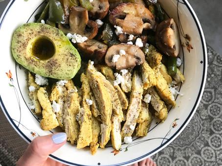 grilled chicken cauliflower rice bowl