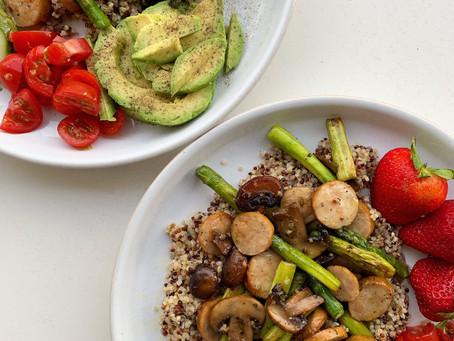 quinoa + chicken sausage hash