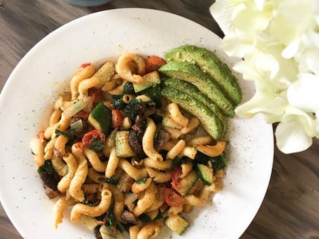 zucchini mushroom chickpea pasta