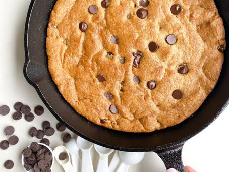 tahini + peanut butter cookie skillet