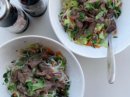 vietnamese steak + rice noodle bowl
