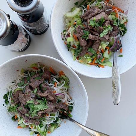 vietnamese steak + rice noodle bowl