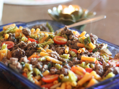 grass-fed beef & tomato pasta