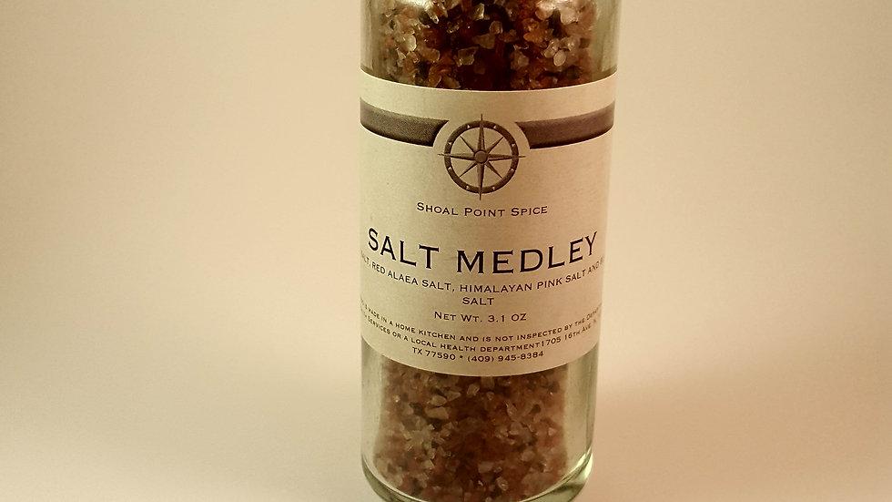 Salt Medley - Black, Red,Pink and Sea Salt w/grinder top