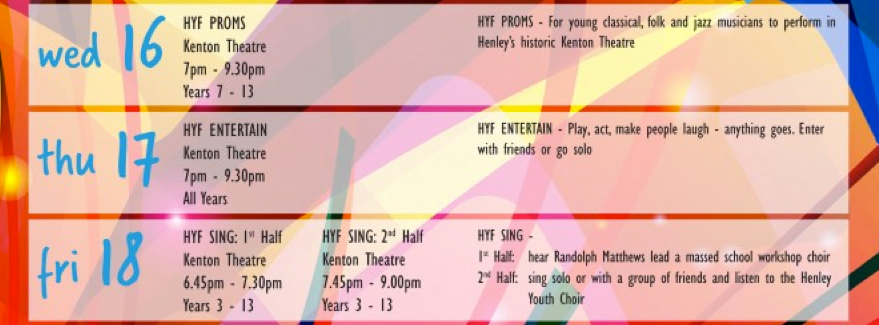 Henley Youth Festival 2016 Programme of Events