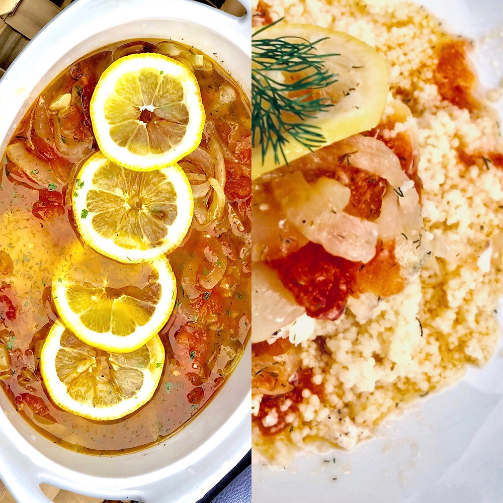 Baked Fish Place Style / Served with couscous