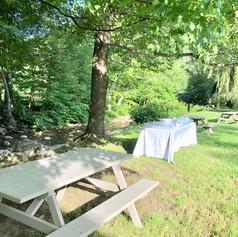 Reception bar near brook.
