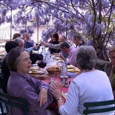 Dining under wisteria.