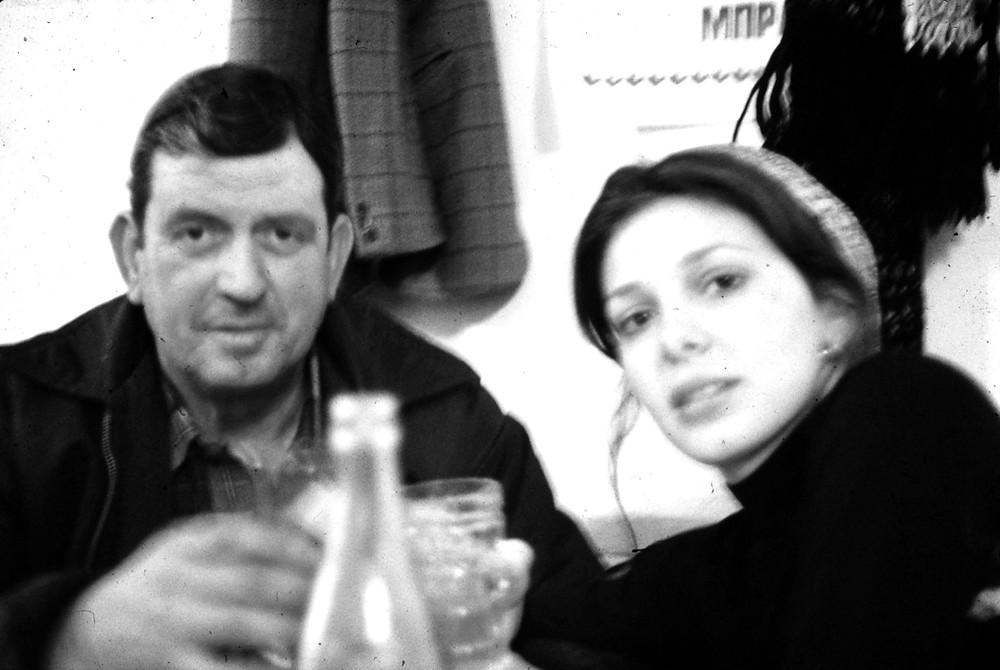 Antonio and Linda toast at Chrysí Kardiá in Corfu, Greece.