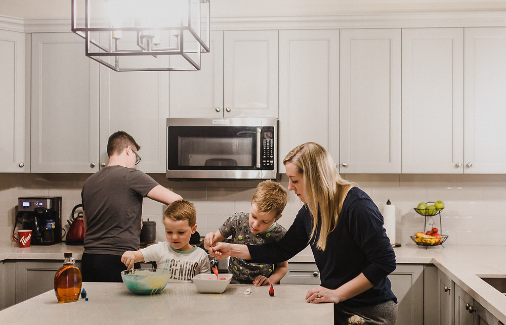 Making pancakes family lifestyle photography Whitby