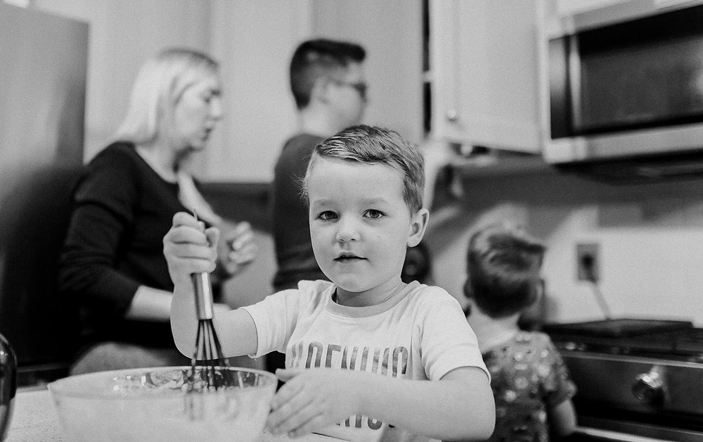 Making pancakes family lifestyle Whitby photography