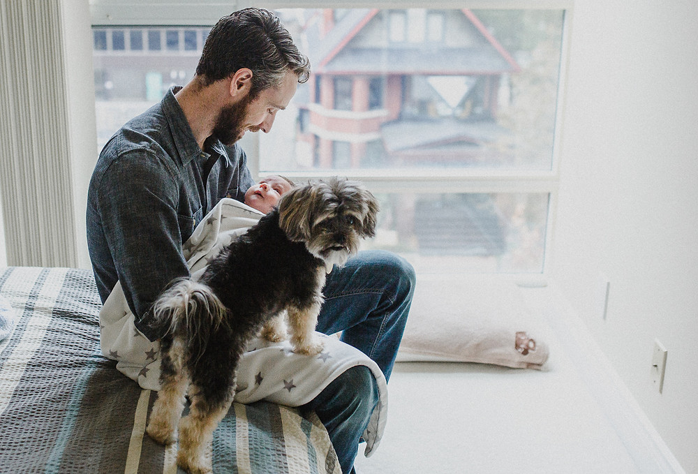 daddy and son with dog