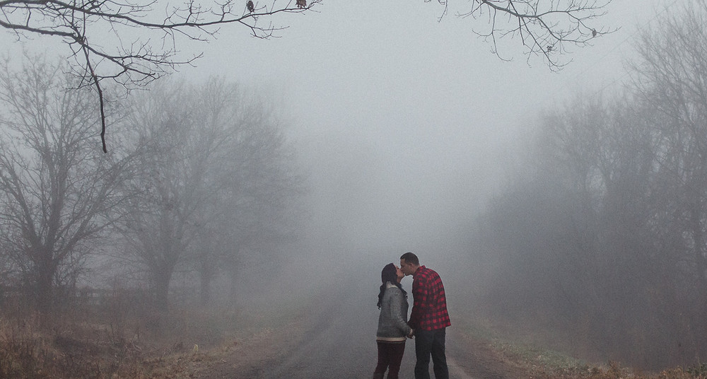 Kissing on a road