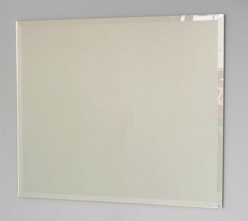 Frameless bevelled mirror