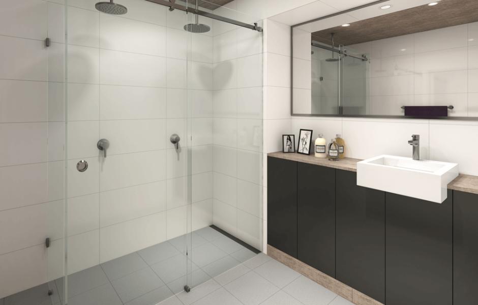Frameless sliding shower screen, framed vanity mirror