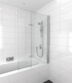 Frameless bath screen & bi-fold door
