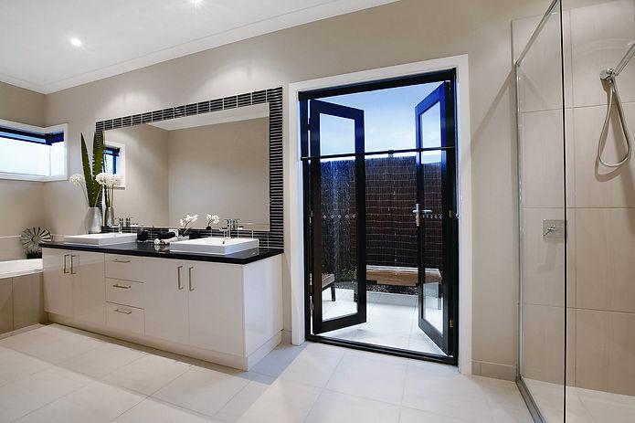 Frameless shower screen, hinged doors, vanity mirror, window