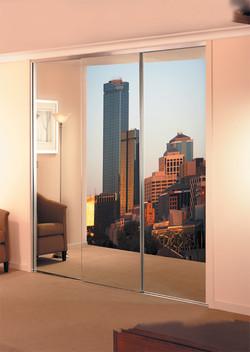 Semi-frameless mirrored wardrobe